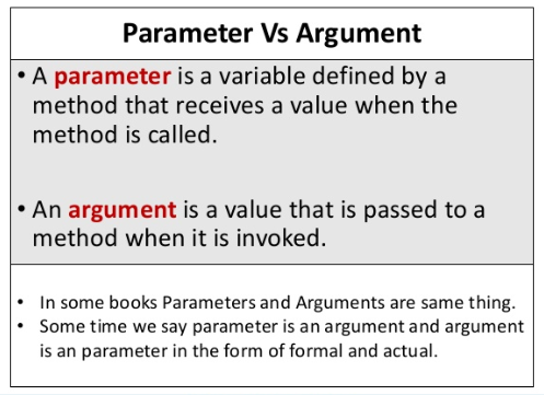 Parameter Is Variable In The Declaration Of Function Argument Is The Actual Value Of This Variable That Gets Passed To Function