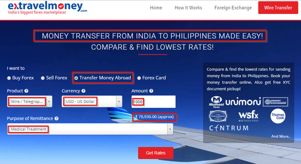 How to send money from India to the Philippines for medical
