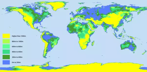 If Sea Levels Were To Rise By One Kilometer How Much Of The - Level above sea level