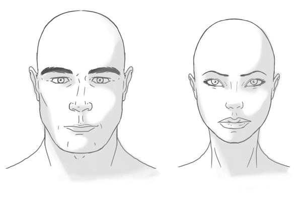 What facial features distinguish a man from a woman?