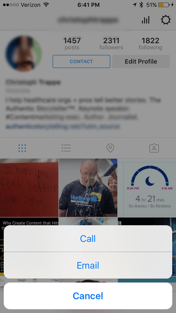How to add contact button to instagram quora ccuart Gallery