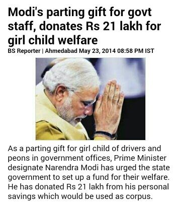Image result for donated 21 lakh modi