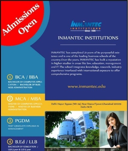 I Would Suggest You For Inmantec Insutes From Ghaziabad The Most Por Management College Its Placement Istance And Infrastructure