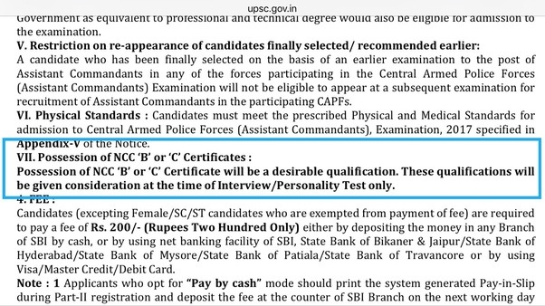 Is there any benefit of NCC C certificate in an assistant commandant ...