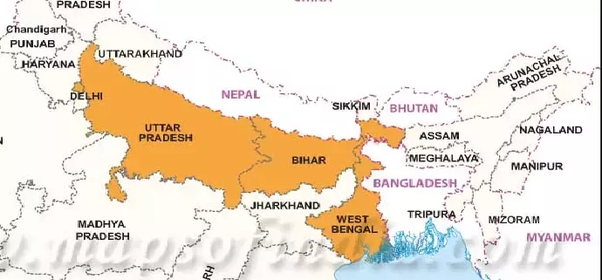 Northern Plains Of India Map Which are the three states in the northern plains of India having