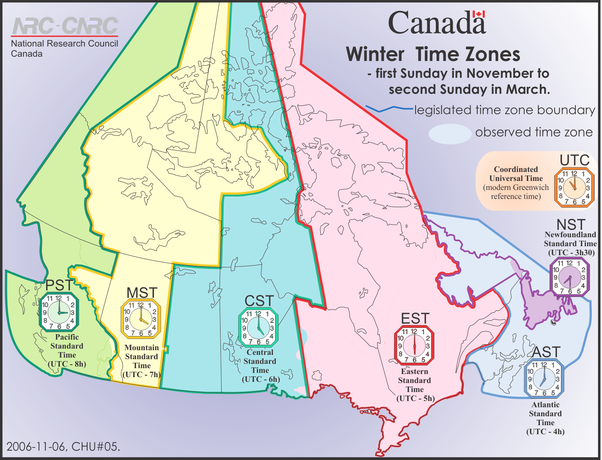 Map Of Canada Provinces Time Zones.Why Does Canada Have 6 Different Time Zones Quora