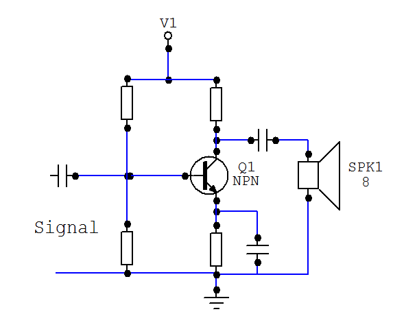 how to do bjt transistor amplifier with 5 resistors and common emmiter