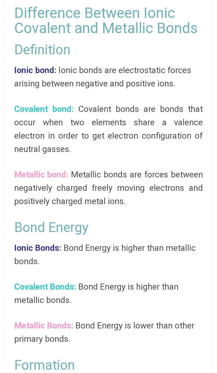 What Is The Difference Between Ionic Covalent And Metallic Bonds