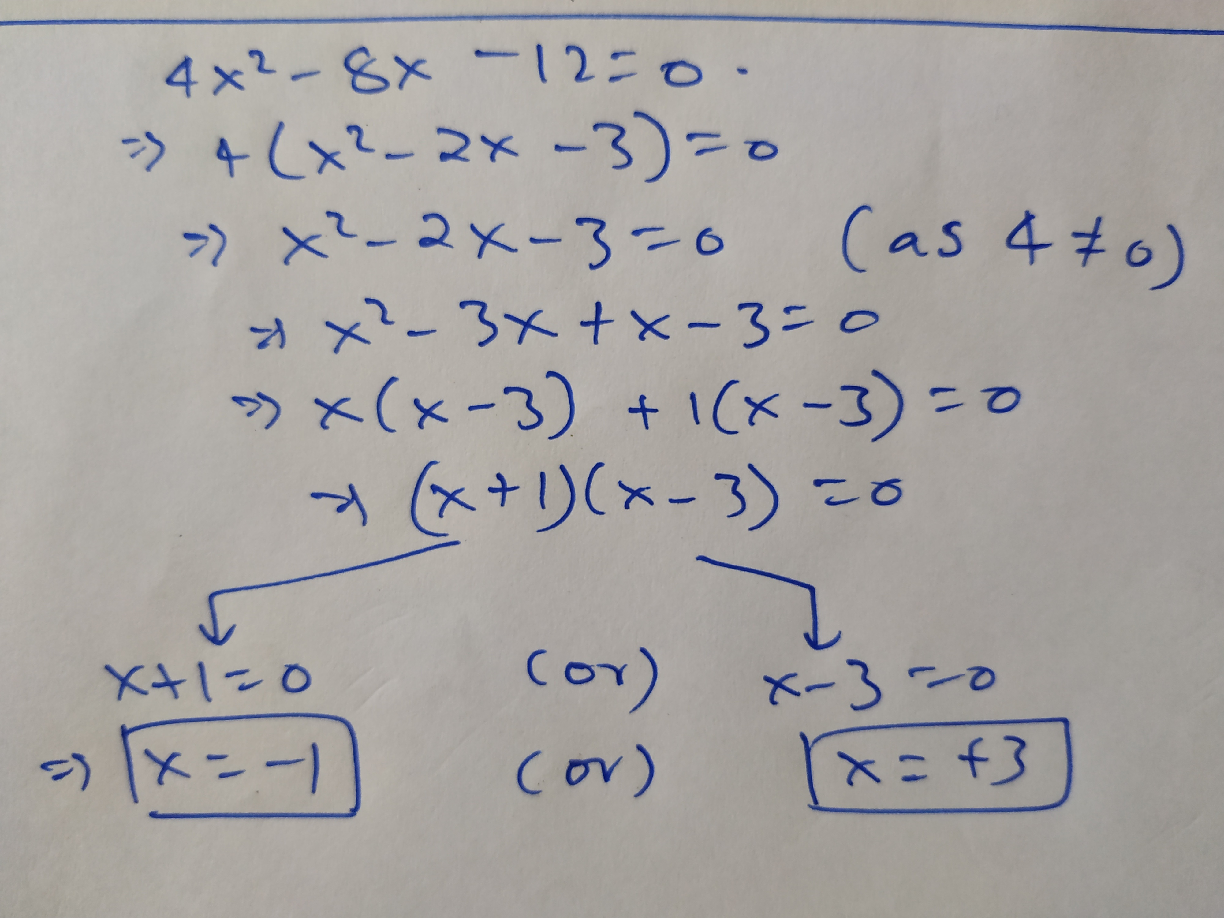 what are the solutions of the quadratic equation math 4x 2 8x 12 0 math quora 4x 2 8x 12 0 math quora