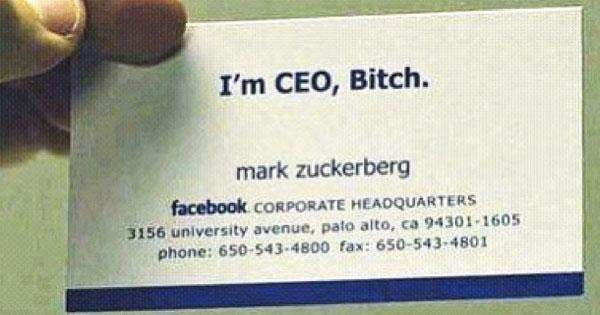 As For It Is Very Simple The Most Funny Ceo Of Facebook If I Had To Make A Business Card Will Something Like This