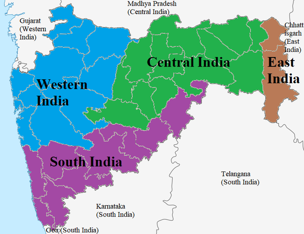 Where does maharashtra belong north india south india or should maharashtra is divided between central west and south india and a few districts are also in eastern india publicscrutiny Image collections