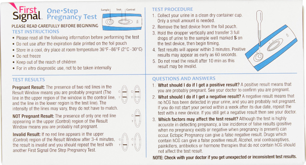 When you get a letter T on the First Signal pregnancy test, what