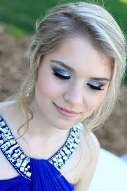 Light make up works well with blue dress, especially for day light. and well lit evening events