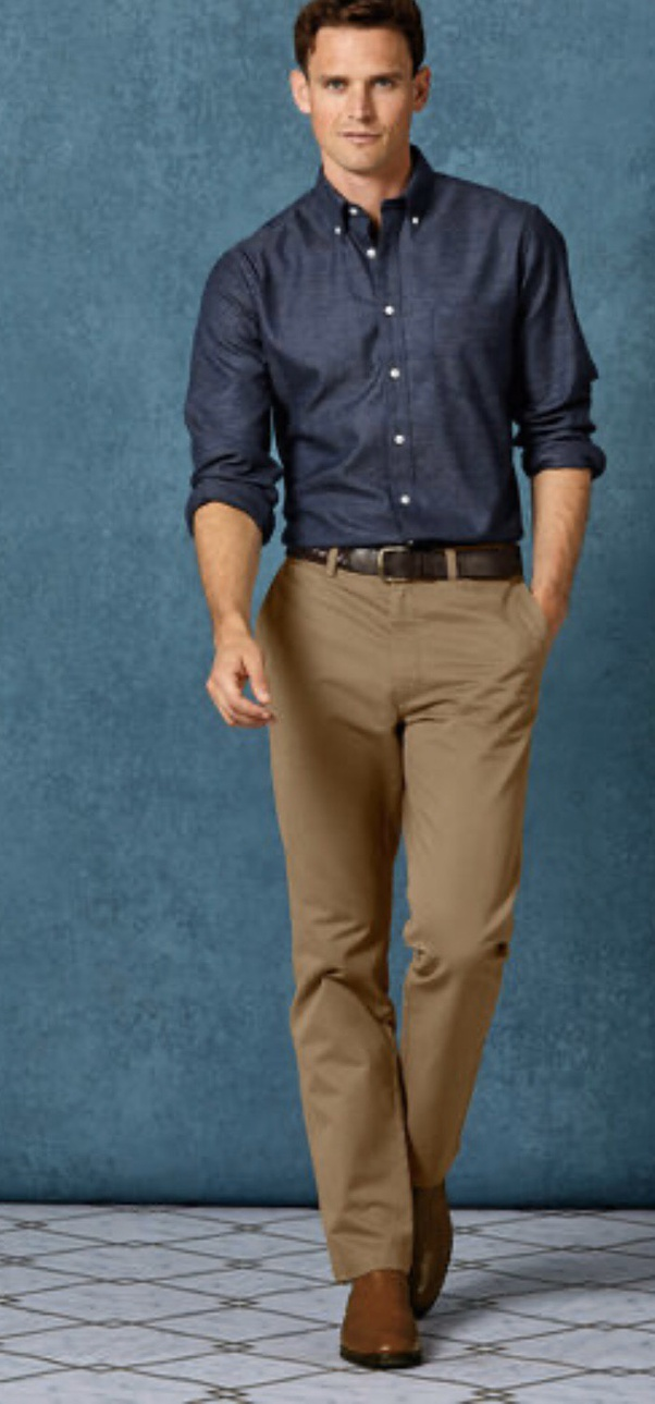 What color pants with blue shirt