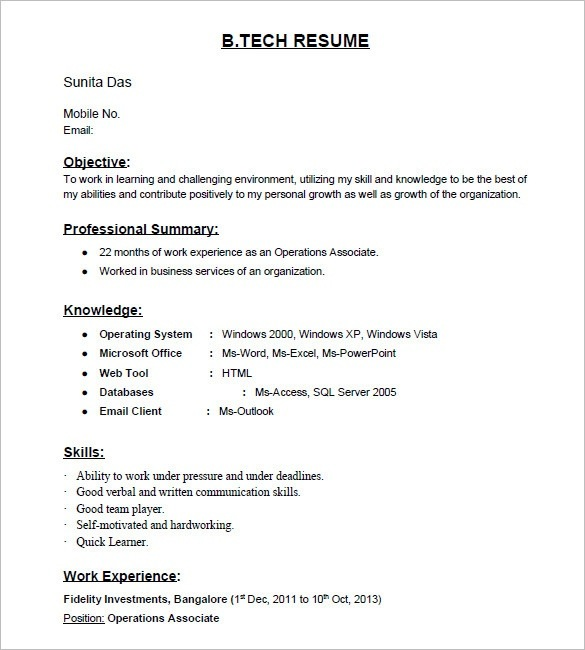 Prepare resume for fresher