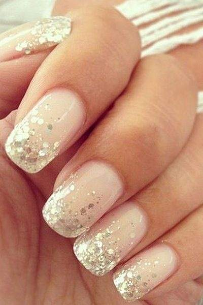 For days when my polish is brighter, I do stuff like this, but only on one  nail... Nude and gold glitter - dailymakeover.com - What Are Some Nail Art Ideas For The Ring Finger? - Quora
