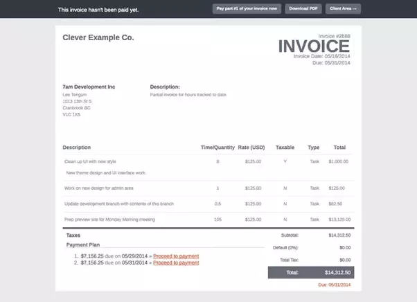 is there any example of estimate invoice for mobile app development
