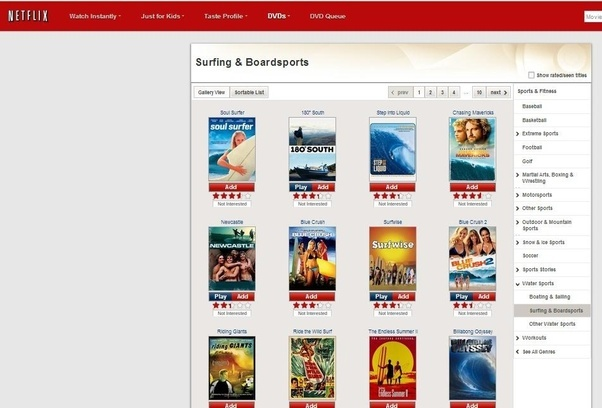 Surfing movies on netflix