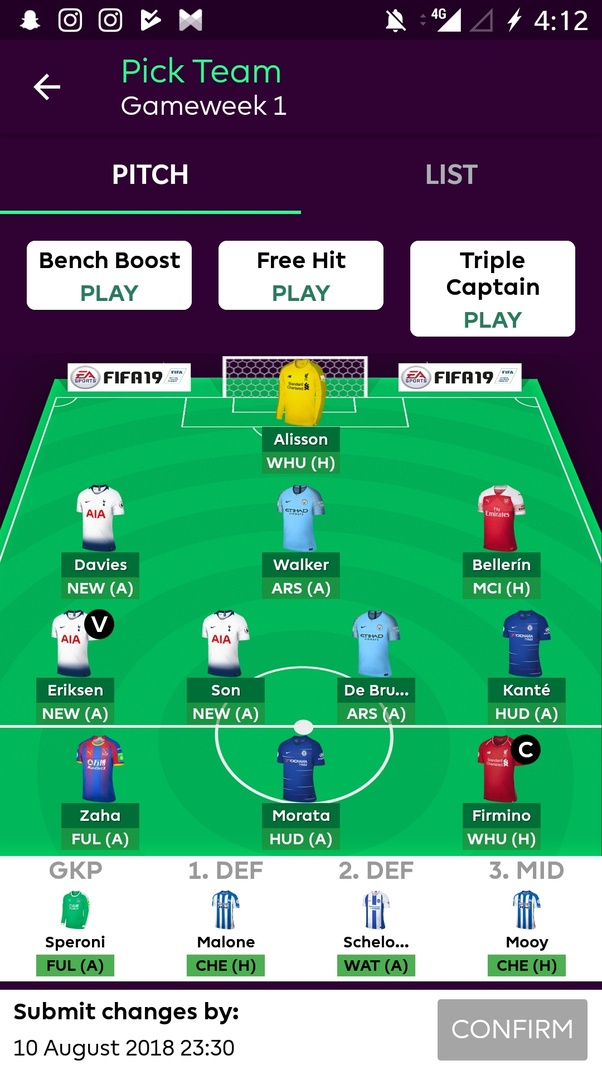 What is your team for the Fantasy Premier League 2018/19