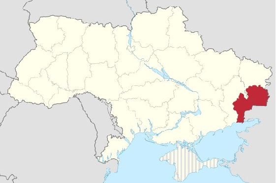 in the above map of ukraine a dark red spot in the eastern part of the country is a territory occupied by russian separatists notice how small it is when