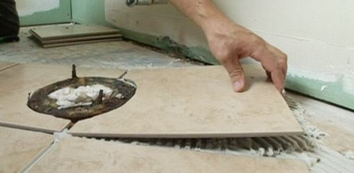 Ly The Tiles And Allow Adhesive To Dry Completely Next Grout Don T Gap Between Retaining Ring