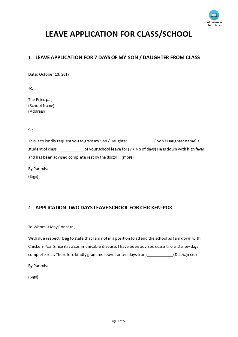 How to write a letter for sick leave to a teacher from a parent
