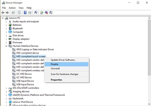 How to enable and disable the touchscreen in Windows 8 1 Lenovo Flex