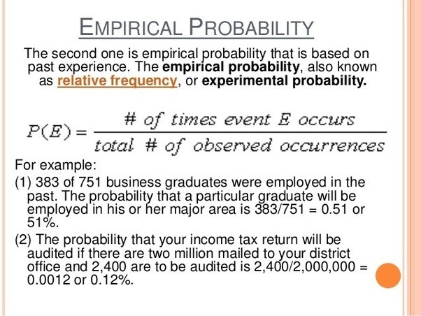 classical and empirical probabilities The empirical probability of a given color is the proportion of marbles of use the empirical probabilities in the last column to estimate the number of marbles of.