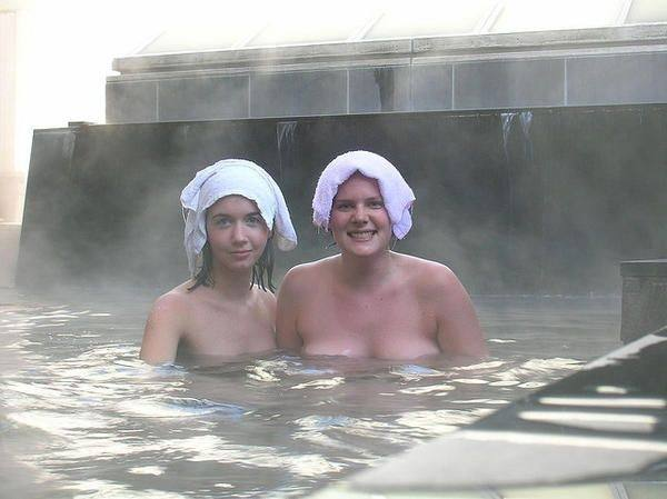 image Mature women in communal shower