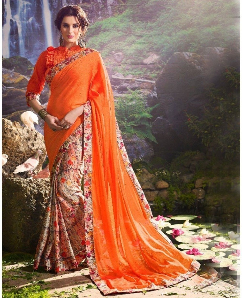 506a0e8c50c738 Gown style sarees  This designer wear offers an indo-western vibe on the  overall look. These days