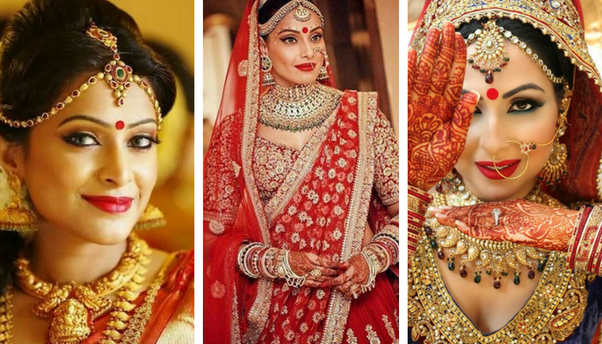 According to 2018 trends, in bridal makeup Big Bindi trend is now more famous in all india. Big Bindi gives your face superb look.