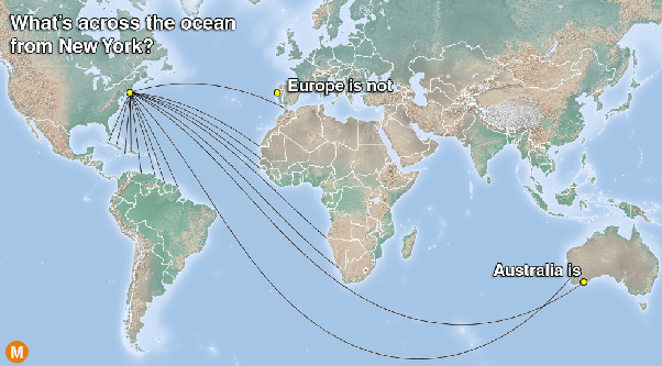 Why dont we start using a more accurate world map rather than the although the lines in this next map appear curved they are all actually straight on the globe these are the routes that ships and planes actually take gumiabroncs Choice Image