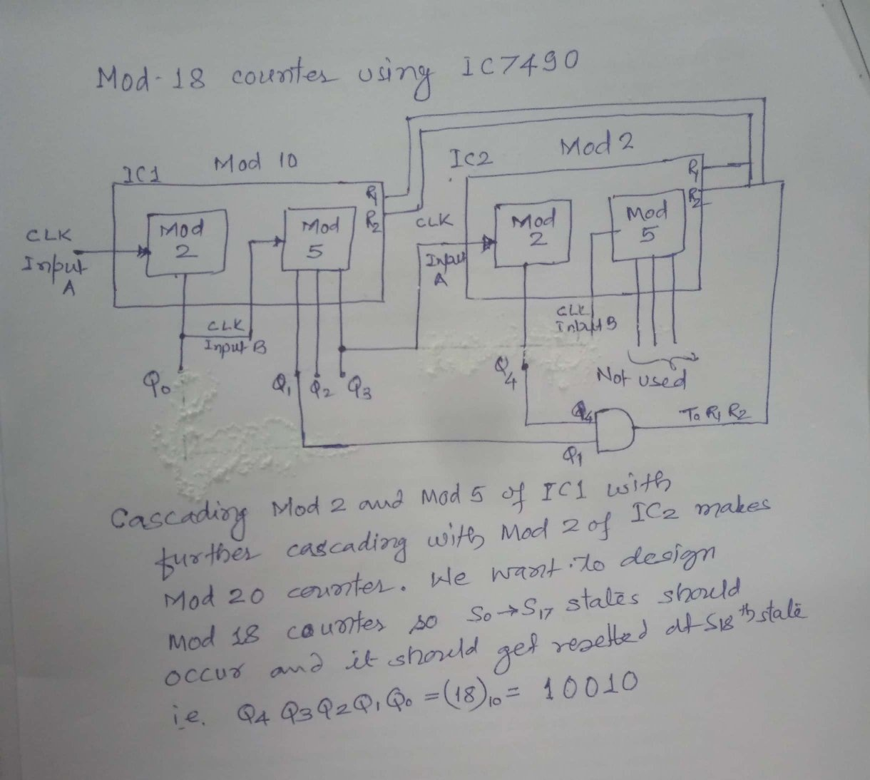 How to design a mod 18 asynchronous counter by the reset and