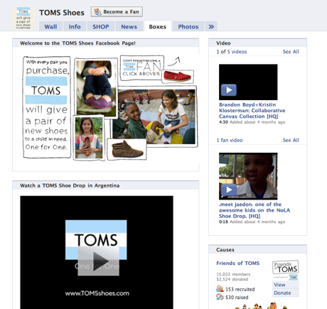Screenshot Of Toms Shoes Page On Facebook