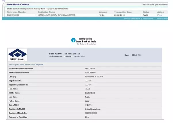 how to find the sbi collect reference no of one of my transaction