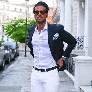 Black blazer white shirt red tie