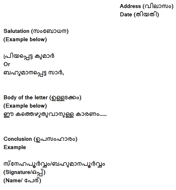 What is the format of an informal letter in Malayalam? - Quora