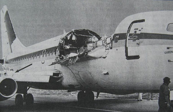 ... suprisingly there was only one fatality a flight attendant named Clarabelle Lansing. She was swept from the aircraft while walking down the aisle. & Why do movies and cartoons show things shooting out of an airplane ...