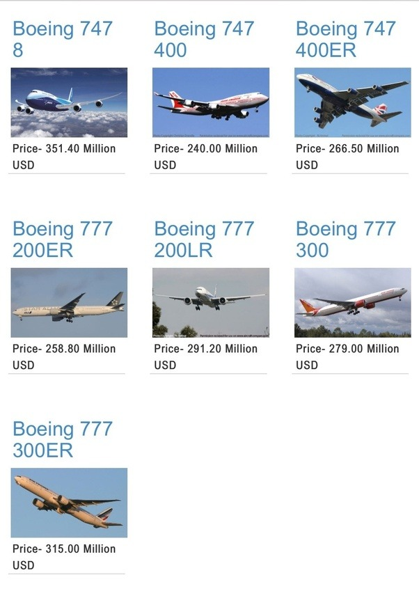 What are the prices of new passenger airliners of various capacity ...