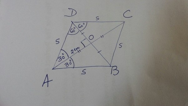 In a rhombus with sides a b c and d the diagonals intersect at o given rhombus abcd a 60 oa 2 cm ccuart Image collections