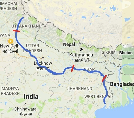 Great The Total Length Of The Ganga River From Her Source To Mouth (measured  Along The Hooghli) Is 2525 Km.