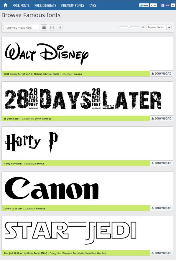 Quels types de caractères sont utilisés dans les logos des sites Web populaires?