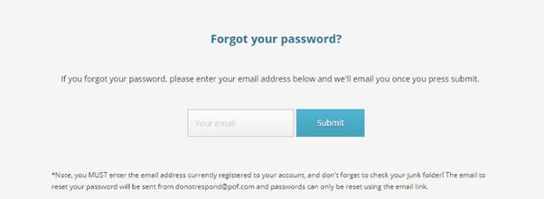 Pof forgot email