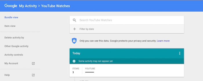 How to search my YouTube history with a keyword search