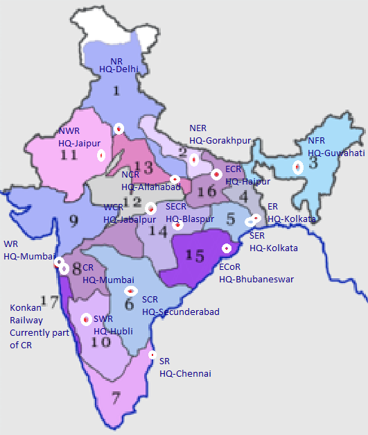 Indian Railways System How many railway zones are there in India