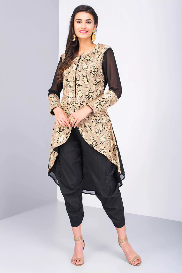 bc7a399f57c It s an amazing article of dress that looks stylish in pure eastern touch.  Dhoti Pant is highly in fashion these days and it goes best with Kurtis
