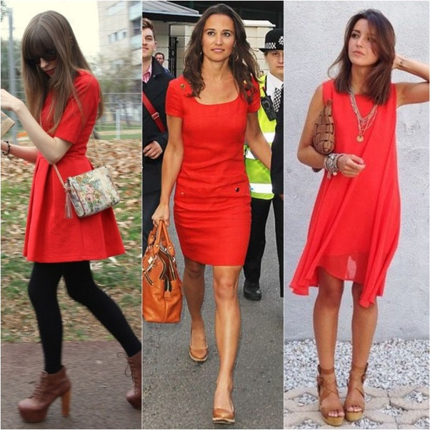 7330b1411 Can you wear a red dress with brown shoes  I m on the fence about this one
