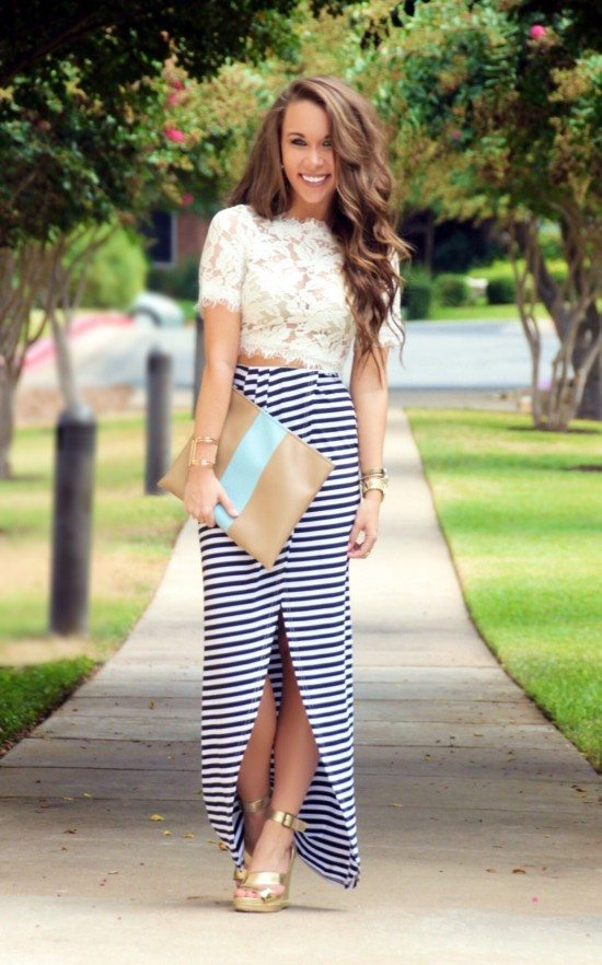 What do you wear with a striped maxi skirt?
