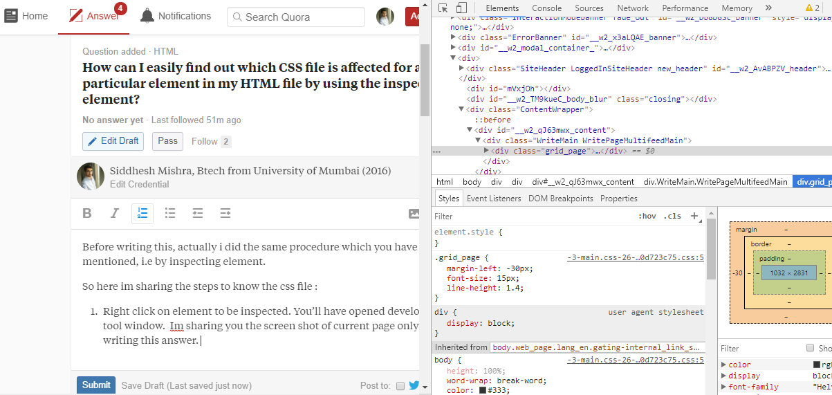 How to easily find out which CSS file is affected for a