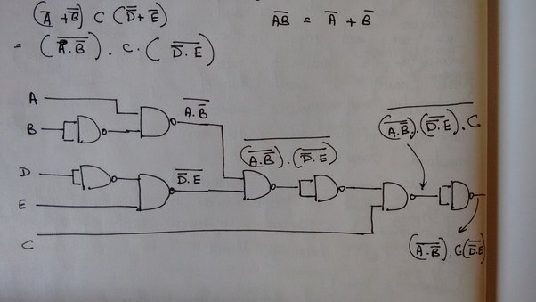 how can this be simplified using only nand gate a b c d e quora rh quora com  draw a logic diagram using only two input nand gates